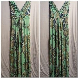 Tart Stretchy Bright Print Maxi Sleeveless V Dress